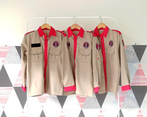 Kemeja Korsa Organisasi Warna Khaki Kombinasi